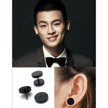 Anting Model Barbel Hitam Per Pasang