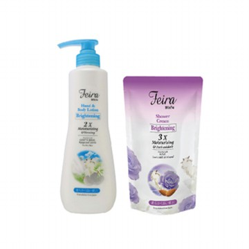 FEIRA White Goat's Milk Hand & Body Lotion 600Ml + White Rose Shower Cream Refill 450Ml