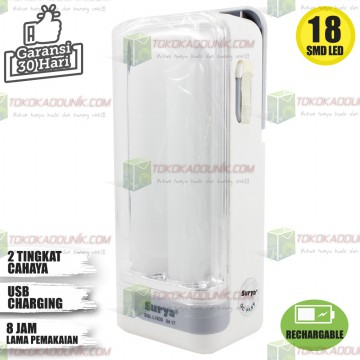LAMPU RECHARGEABLE EMERGENCY SQL L1830 - 18 SMD TAHAN 8 JAM
