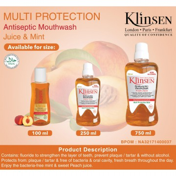 Klinsen Antiseptic Mouthwash Juice Mint-Multi Protection 250 ml - Obat Kumur