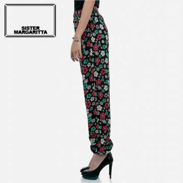 Sister Margaritta Black Retro Flower Pants (Black)