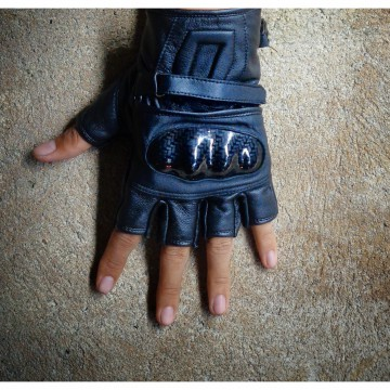 URBAN half gloves genuine leather - sarung tangan motor kulit asli