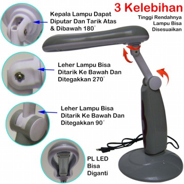 JM-3005 PL 4W LED lampu meja belajar desk lamp switch 1.5m kabel
