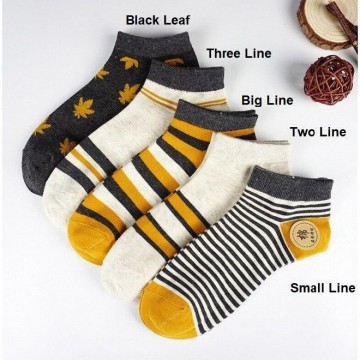 KK47 Kaos Kaki Pria Wanita Japanese The Ginger Ankle Sock - black leaf