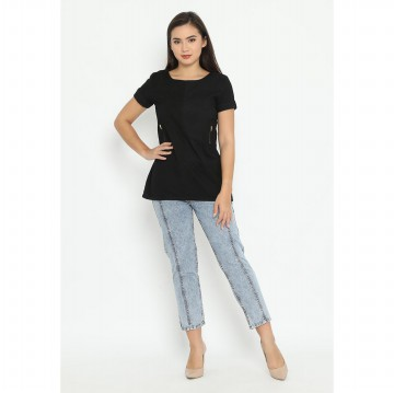 Mobile Power Ladies Short Sleeves Tunic - Black N8318
