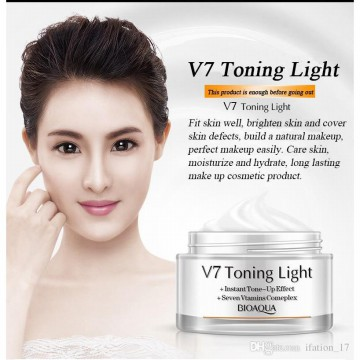 BioAQUA V7 Toning Light / Krim Pencerah Wajah dengan 7 vitamin Brightening, Lightening