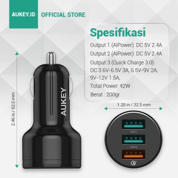 AUKEY CC-T11 3-PORTS 42W QUICK CHARGE 3.0 CAR CHARGER