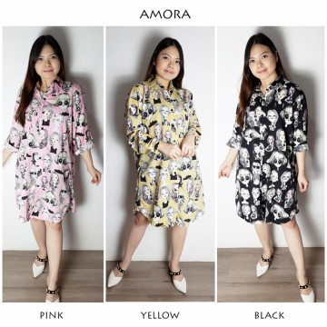 DRESS TUNIK BATIK WANITA / TUNIK BATIK RETRA  MOTIF KEPALA ORANG / BATIK MUSLIM / AMORA DRESS