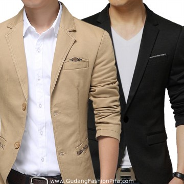 Blazer Katun Pria Semi Formal / Mens Suit Model Motif Casual/ Jas Gaul Keren Murah Fit Pesta Natal