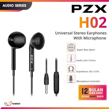 PZX Earphone H02 Ergo & Stereo Mid Stereo Bass