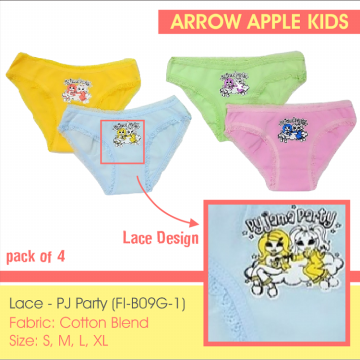 Arrow Apple Kids - Celana Dalam Anak Perempuan - Petite - Lace Tuesday / PJ Party - 4 Pcs