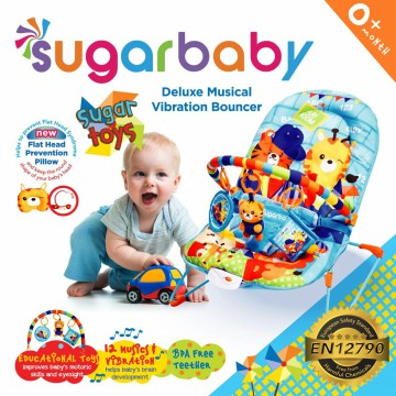 Sugar Baby Sugar Chef (Pink) - Fox (Green) - Toys (Blue) Deluxe Musical Vibration Bouncer