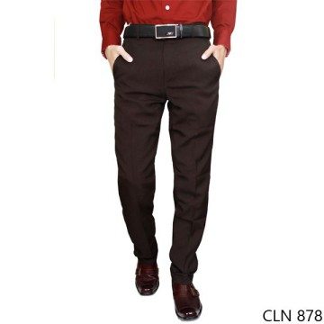 Mens Slim Fit Long Pants Katun Coklat Tua – CLN 878