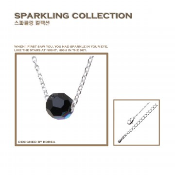 Korea Cocoa Jewelry Circle Cute Black - Kalung Swarovski - No Box