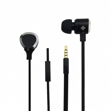 Polaroid metal earphone with microphone & tangle free flat cable handsfree stereo headset PRE203-BK