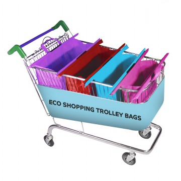 READY STOCK|Eco Bag 4s Trolley Shopping Bags Roll Up & Clip for Supermarket Trolley - tas belanja