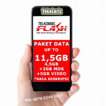Telkomsel Flash up to 11.5GB(4.5GB +2GB MDS +5GB Video) 30hari Paket Data Internet BACA DESKRIPSI