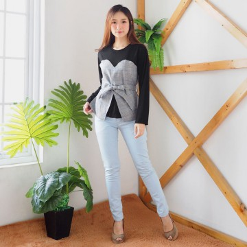 Jo & Nic Louvre Checked Combination LongSleeves Top - Atasan Wanita - Blouse Wanita