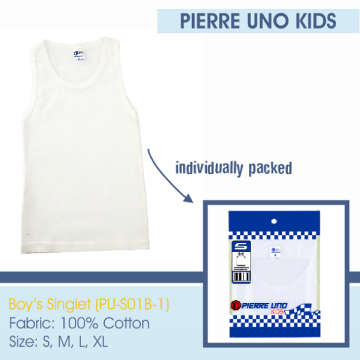 Pierre Uno Kids - (VALUE PACK - 3 PCS) x Kid's Singlet - Singlet Anak Laki-laki - White