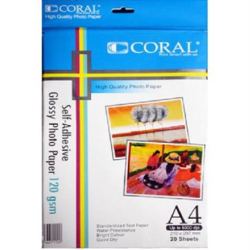 [CORAL] Glossy Photo Sticker Paper 120 Gsm (Pack 20 Sheets)