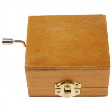 Kotak Musik Klasik Vintage Wooden Music Box - Yellow