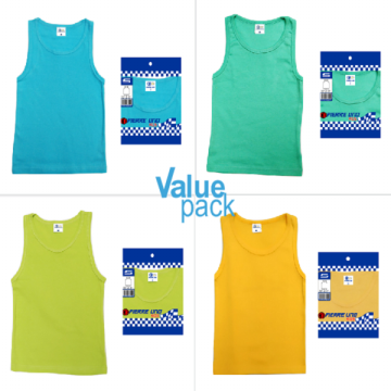 Pierre Uno Kids - Value Pack - 3pcs x Kid's Singlet - Singlet Anak Laki Laki - Multicolor