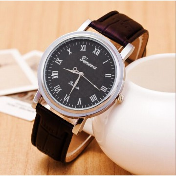 JAM TANGAN GENEVA MEN LEATHER STRAP SILVER FRAME