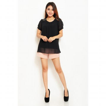 Jfashion Korean Style Blouse Mote Short Sleeve