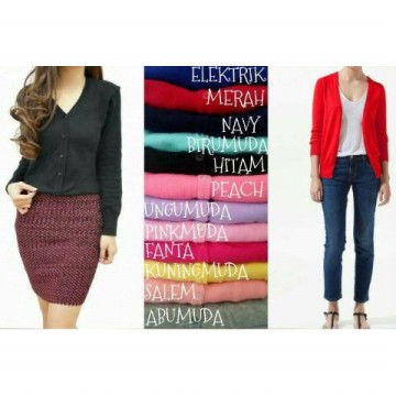 Knitted Cardigan Candy Color - All size fit to L  - Lebih Dari 10 Warna