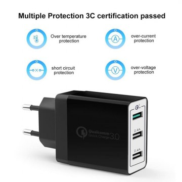 Sniper Wall Charger+ 3 Port Fast Charging Qualcomm QC 3.0 Black