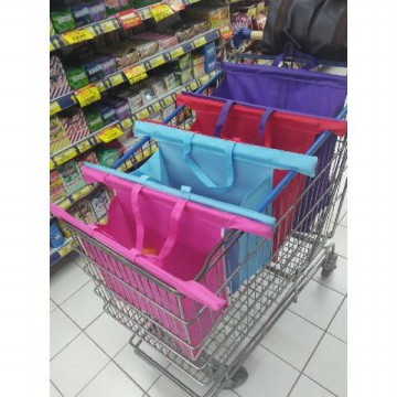 READY STOCK 12pcs|Eco Bag 4s Trolley Shopping Bags Roll Up & Clip for Supermarket Trolley