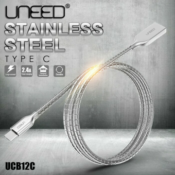KABEL DATA USB TYPE C UNEED STAINLESS STEEL FAST CHARGING ASUS XIAOMI