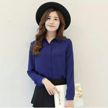 Jfashion Korean Style Plain Shirt Long SLeeve - Ummi