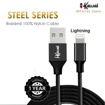 Ikawai Kabel Lightning/Type C/Microusb Braided Nylon 27cm