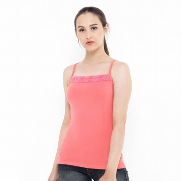 Mobile Power Ladies Brocade Combination Tanktop - Pink Peach B6797