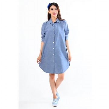 Tunik & Blouse Denim Lengan Panjang & Lengan Pendek - 2 Model