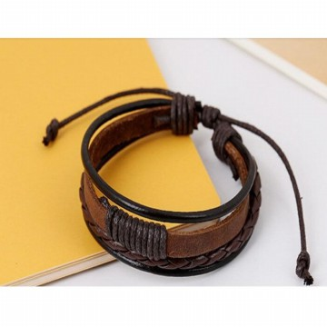 Gelang Rantai Kulit Multilayer