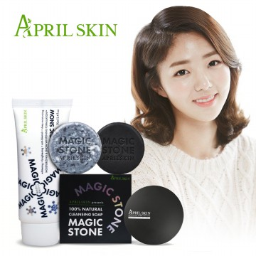 [April Skin] All In One Set Magic Stone + Magic Snow Cream + Magic Snow Cushion/Set/Korea cosmetic