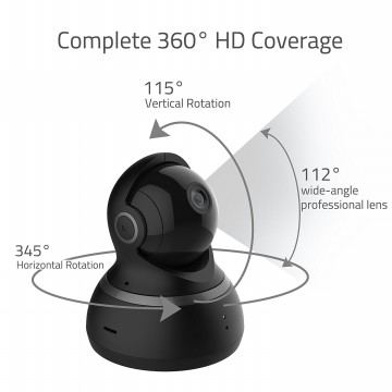 Xiaomi Yi Dome Home Camera CCTV Full HD 1080P International Version Versi 2 Garansi 1 Tahun - Hitam