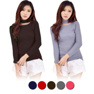 Jfashion Korean Style HighNeck Knitwear Blouse Long Sleeve - Azuma