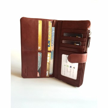 Dompet Wanita Kulit Asli RFID Blocking Import USA (Redwood)