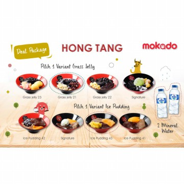 [HONG TANG] Deal Package (1 Grass Jelly + 1 pudding series + 2 Aqua 340ml)