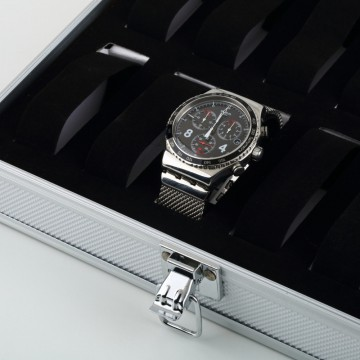 FREE ONGKIR! Watch Display Box Organizer Aluminum Display Box for Watch 12 Slots