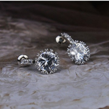 Simple Fashion Diamond 925 Silver Plated Ear Stud Earrings Women Jewelry