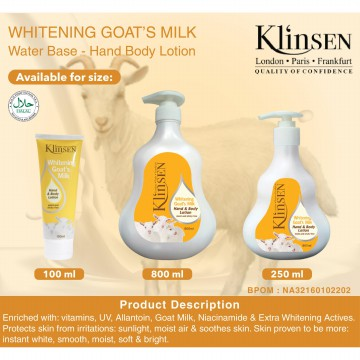 Klinsen Lotion Whitening Goat Milk 250 ml