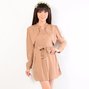 Grosir! Dress Wanita Rayon Bangkok Mocca [Dress Riyanti Mocca Sw]