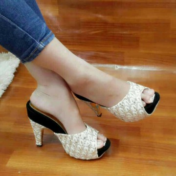Termurah! SANDAL PESTA HIGH HEELS BRUKAT CREAM