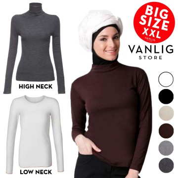 BIG SIZE XXL Manset Turtle Neck Low Neck Long Sleeves Jumbo / Kaos Lengan Panjang / Turtleneck