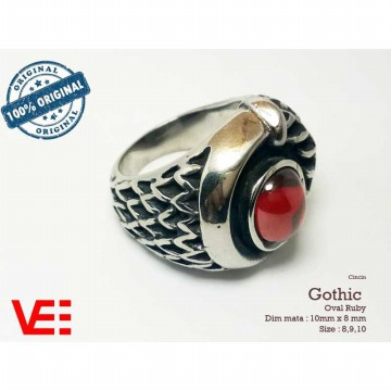 VeE Cincin Pria Import Gothic Ring oval Ruby