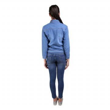 Jfashion Jaket Jeans Washed Tangan panjang Wanita - Sweety